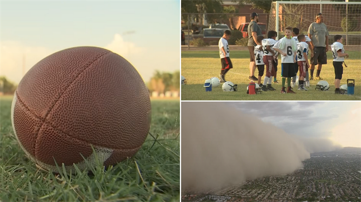As it stands, when a large dust storm hits, there is no rule stating practice needs to be canceled, according to Arizona Pop Warner. (Source: 3TV/CBS 5)