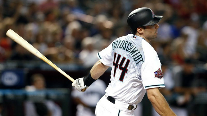 Arizona Diamondbacks' Paul Goldschmidt watches his single during the first inning of the team's baseball game against the Philadelphia Phillies, Tuesday, Aug. 7, 2018, in Phoenix. (Source: AP Photo)