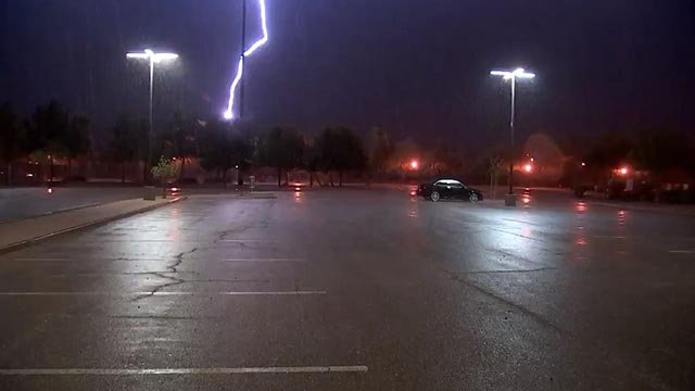Lightning struck dangerously close to our crew in Gilbert. (Source: 3TV/CBS 5)