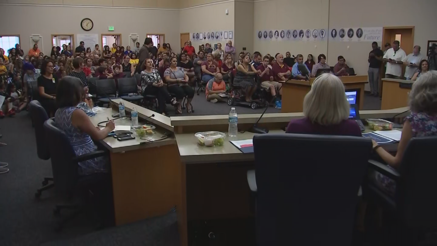 ASU Preparatory Academy students and parents attended the Phoenix Elementary School District (PESD) Governing Board meeting Thursday night to talk about the fate of the charter school. (Source: 3TV/CBS 5)