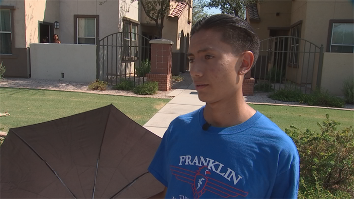 Calletano Morales, 15, is lucky to be alive after getting hit by lightning Friday night in Phoenix. (Source: 3TV/CBS 5)