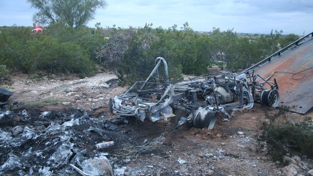 A 1965 Ford Roadster was fully enguled in flames and quickly exploded following a rollover in San Tan Valley. (Source: Pinal County Sheriff's Office)