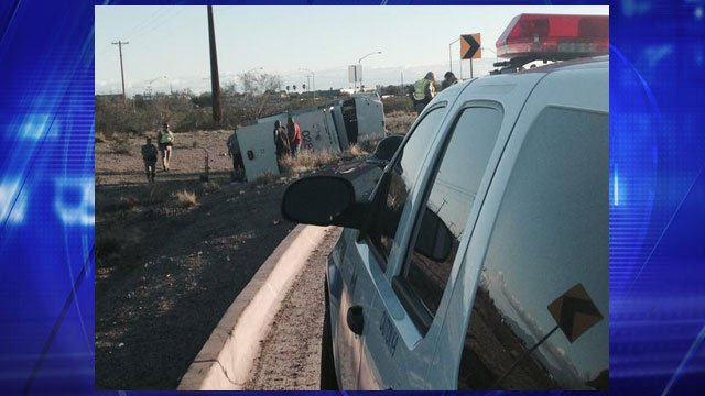 An armored truck overturned in an accident on a Tucson freeway ramp. (Source: Tucson News Now)