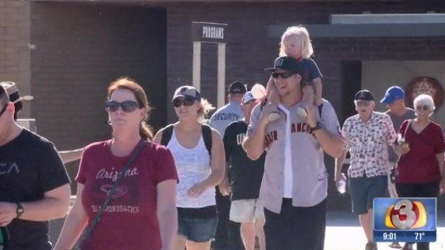 Nearly 13,000 people filled the stands and the lawn at Salt River Fields to watch the Arizona Diamondbacks and San Francisco Giants during spring training March 8. (Source: 3TV)