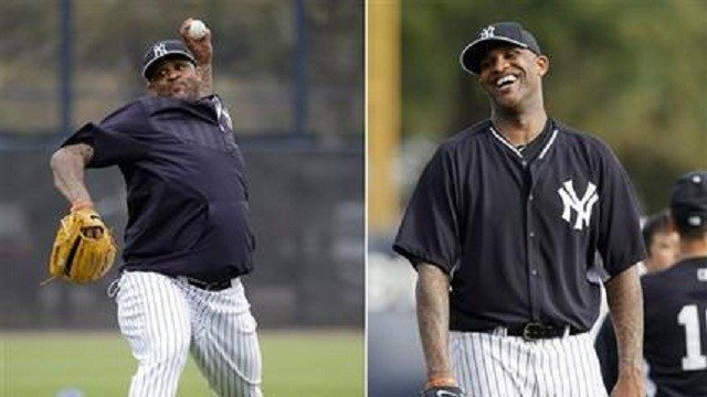 FILE - At left, in a Feb. 25, 2015, file photo, New York Yankees starting pitcher CC Sabathia throws during a spring training baseball workout in Tampa, Fla. At right, in a Feb. 21, 2014, file photo, New York Yankees starting pitcher CC Sabathia reacts be