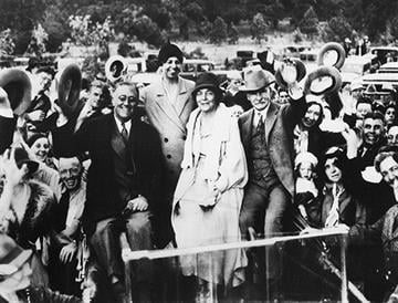Then-Governor Franklin Roosevelt received an enthusiastic welcome at the ranch of Jack and Isabella Greenway in Williams, Arizona. By Arizona Historical Society