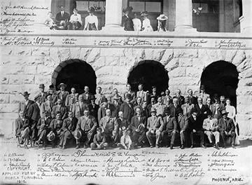 On October 10, 1910the Arizona Constitutional Convention convened in Phoenix with George W. P. Hunt elected chairman. By Arizona Historical Society