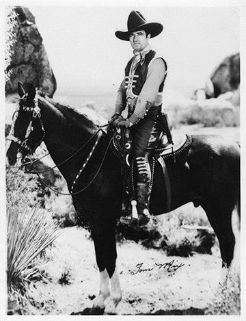 On October 12, 1940Tom Mix, early western movie star, was killed when his car overturned on the Pinal-Pioneer Parkway. By Arizona Historical Society