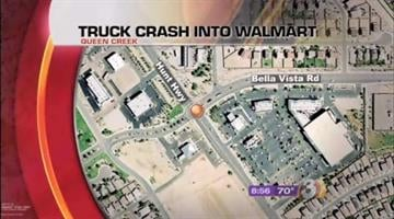 QUEEN CREEK --  HazMat crews were called out to a Queen Creek Wal-Mart after a truck plowed into the wall of the store Friday miring. By Catherine Holland