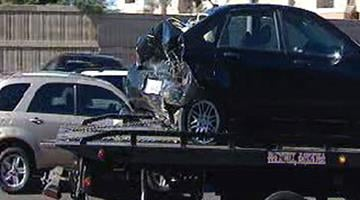 A Phoenix police officer was involved in a three-vehicle collision on State Route 51 Tuesday morning. By Jennifer Thomas