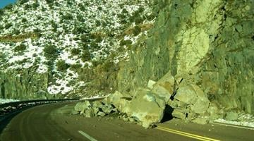 A rockslide occurred Sunday along U.S. 60 east of Globe in the Salt River Canyon. The westbound lane was blocked, but traffic was able to move through one direction at a time with the help of flag crews. By Jennifer Thomas