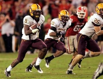 Arizona State safety Jarrell Holman (8 ) runs down field after an interception against Georgia during the fourth quarter of an NCAA college football game Sept. 26, 2009, in Athens, Ga.  Georgia won 20-17. (AP Photo/John Amis) By John Amis