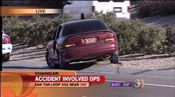 This vehicle narrowly missed hitting a DPS officer investigating an accident in Chandler Tuesday morning. By Jennifer Thomas