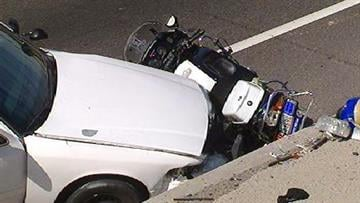 A DPS motorcycle officer was injured after he was pinned against a wall on I-17 at Indian School Road Tuesday afternoon. By Jennifer Thomas