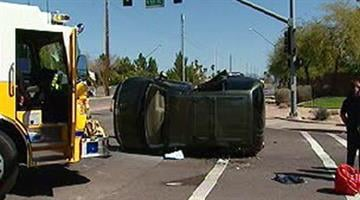 Rollover wreck on 55th Avenue and Union Hills. By Alicia Barron