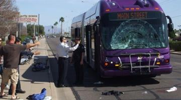 Bicyclist killed after crashing into bus in Mesa. By Alicia Barron