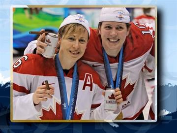 Canada players Jayna Hefford and Gillian Apps(l-r) celebrate on the ice with beers and cigars after Canada beat the US to win gold medal in Women's ice hockey at the Vancouver 2010 Olympics in Vancouver, British Columbia. By AP