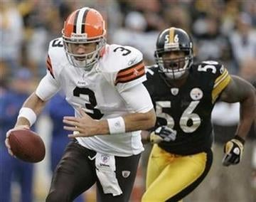 Cleveland Browns quarterback Derek Anderson (3) scrambles to get away from Pittsburgh Steelers LaMarr Woodley (56) during the first quarter of their NFL football game in Pittsburgh, Pennsylvania, October 18, 2009. By Jason Cohn