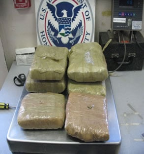 6 bundles of marijuana found strapped to a 94 year-old Woman from Nogales, Sonora, Mexico. By U.S. Customs and Border Protection