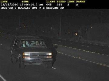 Vehicle caught on speed enforcement camera is believed to have been at the scene of the English Bulldog theft. By courtesy Pima County Sheriff's Department
