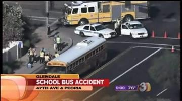A school bus hit a pedestrian in a Glendale crosswalk  Wednesday morning. By Catherine Holland