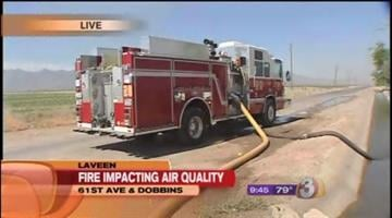A mulch fire that has been burning in Laveen since Wednesday evening continues to spew smelly smoke into the air. By Catherine Holland