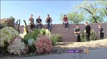 Family and friends gathered at the scene of the accident to remember the Corona Del Sol High School senior. By Jennifer Thomas