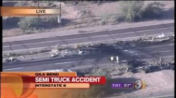 Five people reportedly were injured in an early morning wreck involving two semi trucks on Interstate 8 just west of Gila Bend. By Catherine Holland