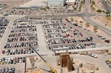 This is an aerial view of the supports which will hold the PHX Sky Train guideway as it travels between East economy parking and Terminal 4. By Natalie Rivers