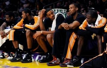 The Phoenix Suns bench watches the final minutes against the Los Angeles Lakers in Game 1 of the NBA basketball Western Conference finals Monday, May 17, 2010, in Los Angeles. The Lakers won 128-107. (AP Photo/Mark J. Terrill) By Mark J. Terrill