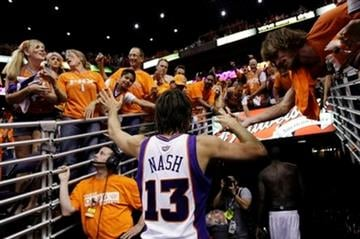Phoenix Suns' Steve Nash leaves the court after Game 6 of the NBA basketball Western Conference finals Saturday, May 29, 2010, in Phoenix. The Los Angeles Lakers won 111-103. (AP Photo/Matt York) By Matt York