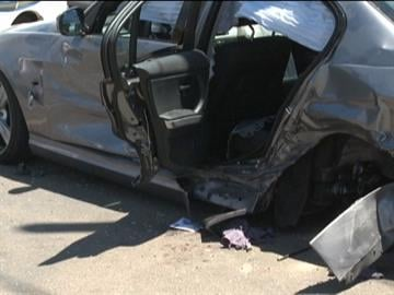 A vehicle heading south on First Avenue at a high rate of speed lost control and slammed into a bus stop bench injuring six in central Tucson late Friday morning. By Bryce Potter