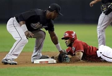 Arizona Diamondbacks' Chris Young steals second as Florida Marlins' Hanley Ramirez makes the late tag during the first inning of a baseball game Sunday, July 11, 2010, in Phoenix. (AP Photo/Matt York) By Matt York