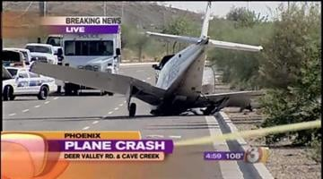 A pilot and a driver are lucky to be alive after the small plane hit a car as it made an emergency landing on Deer Valley Road Sunday afternoon. By Catherine Holland
