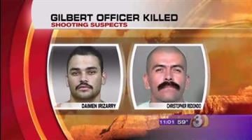 During a news conference on Friday, police identified the suspects in the murder of a Gilbert police lieutenant as Daimen Irizarry (left) and Christopher Redondo (left). By Catherine Holland