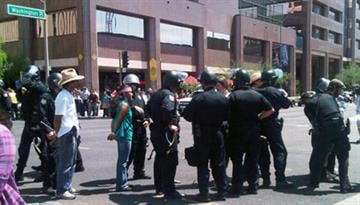Protesters being arrested near 3rd Ave and Washington. By Natalie Rivers