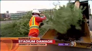 GLENDALE, Ariz. -- A microburst in Glendale Thursday evening left behind all sorts of damage at University of Phoenix Stadium. By Catherine Holland