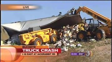 A semi rolled over on eastbound Interstate 10 west of the Valley Tuesday morning, dumping its load of 40,000 pounds -- that's about 20 tons -- of lettuce. By Catherine Holland