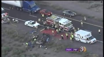 One person was killed and seven more, four of them young children, were hurt in an early morning rollover on westbound Interstate 10 just past Queen Creek Road. By Catherine Holland