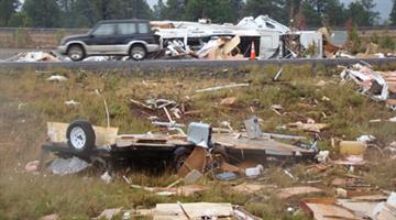 Damage from tornado in Bellemont, Ariz. By Jennifer Thomas