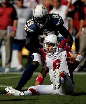 Arizona Cardinals quarterback Max Hall gets sacked by San Diego Chargers linebacker Kevin Burnett during the second half of an NFL football game Sunday, Oct. 3, 2010, in San Diego. (AP Photo/Lenny Ignelzi) By Lenny Ignelzi
