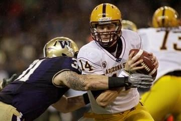 Arizona State quarterback Steven Threet tries to avoid a tackle by Washington's Cort Dennison in the first half of an NCAA college football game, Saturday, Oct. 9, 2010, in Seattle. (AP Photo/Ted S. Warren) By Ted S. Warren