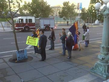 Protesters beginning to gather outside court hearing in San Francisco over SB 1070. By Natalie Rivers