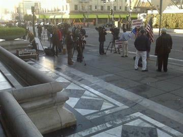 Press outside the federal appeals court in San Francisco. By Natalie Flanzer