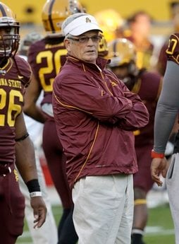 Arizona State head coach Dennis Erickson watches his team warm up prior to  an NCAA football game against Stanford Saturday, Nov. 13, 2010, in Tempe, Ariz. (AP Photo/Matt York) By Matt York