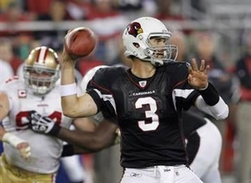 Arizona Cardinals' Derek Anderson (3) throws against the San Francisco 49ers during the fourth quarter of an NFL football game Monday, Nov. 29, 2010, in Glendale, Ariz. The 49ers defeated the Cardinals 27-6. (AP Photo/Ross D. Franklin) By Ross D. Franklin