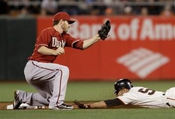San Francisco Giants' Andres Torres, right, steals second base as Arizona Diamondbacks shortstop Stephen Drew, left, looks on during the first inning of a baseball game in San Francisco, Wednesday, Sept. 29, 2010. (AP Photo/Eric Risberg) By Eric Risberg