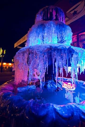 Frozen fountain at Copper Star Coffee By Jennifer Thomas