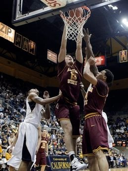 Arizona State's Jordan Bachynski (13) dunks against California during the first half of an NCAA college basketball game in Berkeley, Calif., Thursday, Feb. 3, 2011. (AP Photo/Marcio Jose Sanchez) By Marcio Jose Sanchez
