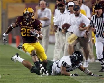 Arizona State runningback Deantre Lewis, left, runs past Portland State safety Manoa Latu, to score a 62-yard touchdown in the third quarter of an NCAA college football game Saturday, Sept. 4, 2010, in Tempe, Ariz. (AP Photo/Paul Connors) By Paul Connors
